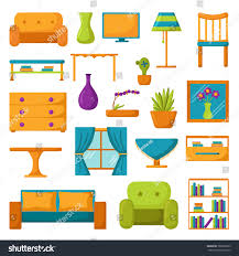 living room furniture clipart. living room interior. furniture. set of vector cartoon icons. furniture clipart
