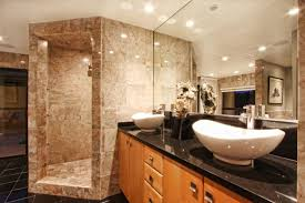 5 tags Modern Master Bathroom with Powder room, European Cabinets, Double  sink, Dome Series Brown