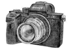 味わいあるカメラとオールドレンズのイラスト三宝カメラの女性スタッフ