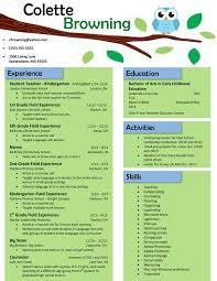 Resume Templates For Elementary Teacher Free Download Owl Teaching