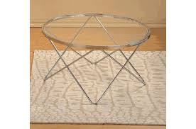 modern design chrome finish glass round coffee table