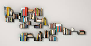 Furniture:Interesting Creative Bookshelf Design With Three Standing Wall  Shelves Ideas Creative Bookshelf Design With