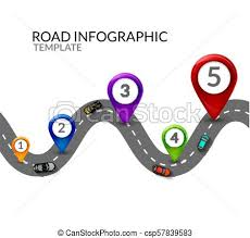 Road Infographic Colorful Pin Pointer And Cars Top View Road