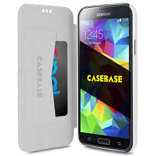 samsung galaxy s5 white. casebase slim wallet case (card holder) for samsung galaxy s5 - white