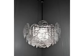 large chandelier with ice glass discs by jt kalmar 1960 s delivery to uk mainland
