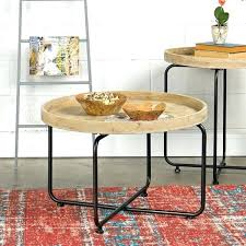 round industrial coffee table. Round Industrial Coffee Table Metal And Wood Rustic With Wheels