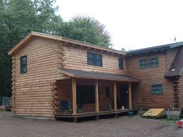 family room master bedroom this two story addition is conventional framed and uses log siding