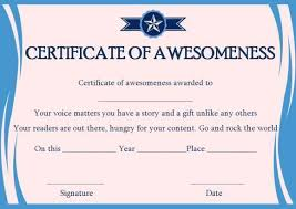 Certificate Of Awesomeness Template Certificate Of Awesomeness Word Templates Certificate Of