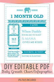 Diy Editable Pdf Monthly Growth Chart Baby Boy Blue Birth