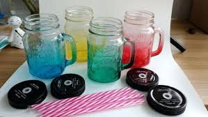 color glass jar set color glass mason jar with handle with lid and straw for colored color glass jar