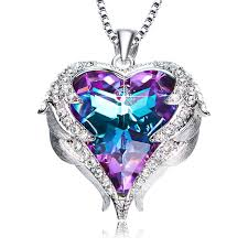 ancreu angel wing heart pendant necklace for women made with swarovski crystals danmar jewelry