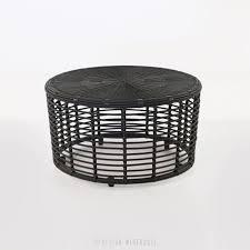 kane black round wicker coffee table