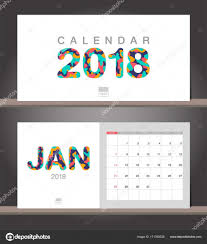 january 2018 calendar desk calendar modern design template with stock vector