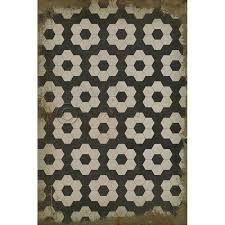 black on white on black pattern vinyl floor cloth