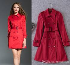 2018 women fashion coat autumn winter coat red trench coat double ted with belt warm jacket long european american coat s xl free ship hfy02 from
