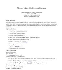 Cover Letter With Internship Experience Cover Letter Finance
