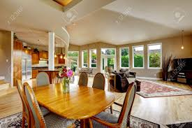 Living Room With Dining Table Spacious Luxury House With Open Floor Plan Living Room With