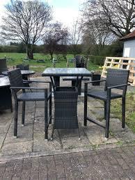 rattan tall garden furniture bar stool set