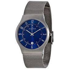 skagen mens titanium watch skagen men s titanium blue dial watch 233xlttn