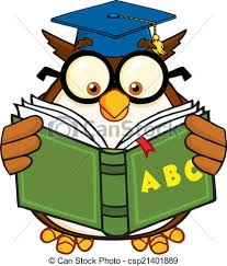 Image result for clip art books with an owl