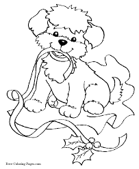Christmas Coloring Pages Puppy And Ribbon