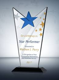 Employee Of The Month Trophy Crystal Star Employee Of The Year Award Three Dimensional