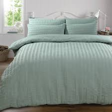 highams seerer duvet cover with pillow case bedding set duck egg blue superking
