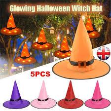 Light Up Witch Hat Details About 5pcs Halloween Led Light Up Hanging Witch Hat Glowing Witches Cap Decor Props