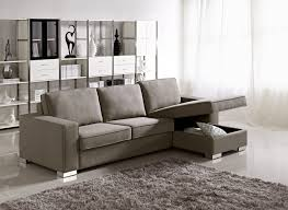 Living Room Display Furniture Gray Color Microfiber Sectional Sleeper Sofa With Storage And