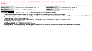Rounding And Backing Machine Operator Resume | Resumes Templates ...