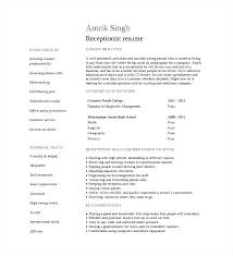 Good Objective For Receptionist Resume