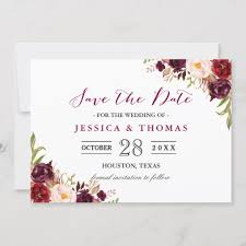 Save The Dates Wedding Burgundy Marsala Floral Chic Wedding Save The Date Zazzle Com