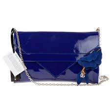 add to my lists roberta gandolfi italian made navy blue patent leather evening bag clutch