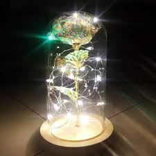 Enchanted Led Rose Light Galaxy 24k Gold Rose Flower Valentines Day Woman Gift Glass