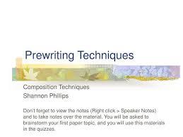 Prewriting Techniques Ppt Prewriting Techniques Powerpoint Presentation Id 1041843