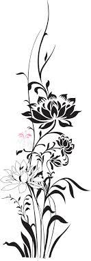 花のイラストフリー素材白黒モノクロno280黒ピンク枝葉