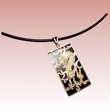 black onyx dragon pendant necklace solid 14k 18k yellow gold scorpio