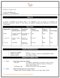 resume formats for engineering students Resume Format For Computer Science  Engineering Students - Best .