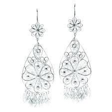 unusual silver filigree chandelier earrings