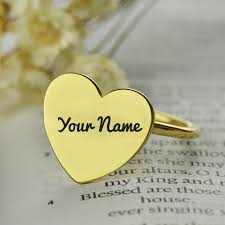 love heart shape gold ring with your name