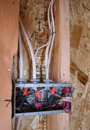home electrical wiring nonmetallic cable is routed between wall studs switches and receptacles fasten to electrical boxes