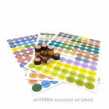 1set Pre printed Essential Oil Bottles Cap Lid Labels Round Circle ...