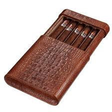 visol rennes brown croco leather travel humidor holds 5 cigar case vcase500crc the home depot