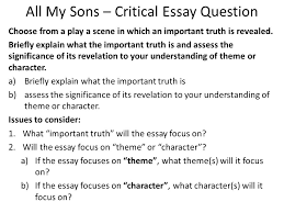 all my sons critical essay question ppt video online  all my sons critical essay question