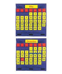 Yellow Calendar Pocket Chart Learning Resources Bilingual Monthly Calendar Pocket Chart