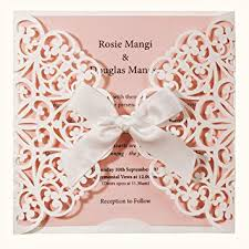 Invitation Quincenera Wishmade Laser Cut Wedding Invitations Square White And Pink Cards With Bow Lace Sleeve For Baby Bridal Shower Birthday Engagement Quinceanera Pack