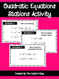 solving quadratic equations square root property math quadratic equations stations fun way for students to review