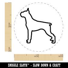 Boxer Dog Outline Rubber Stamp for ...