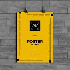poster psd hanging over wall poster mockup psd poster mockup