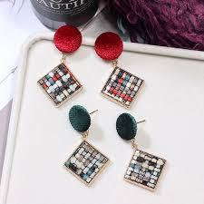 【DDFI】winter velvet colorblock <b>Korea</b> square geometry <b>retro</b> ...